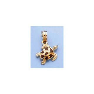 14k Gold Necklace Charm Pendant, Sea Turtle Charm With Brown Enamel Shell Textur Jewelry