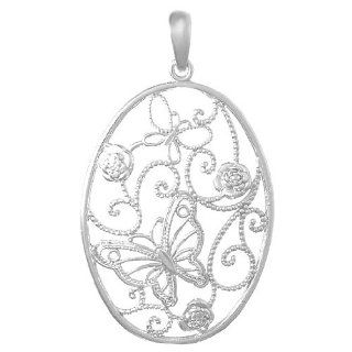 925 Sterling Silver Trend Necklace Charm Pendant, Butterfly Cluster In Ova Charms Jewelry