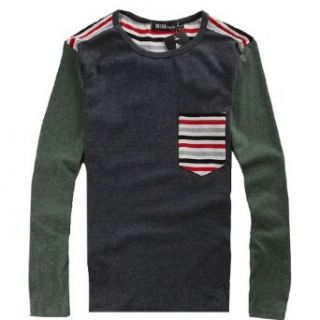 Men Slim Fit Long Sleeve Stripe Trim Tee Shirt at  Men�s Clothing store Fashion T Shirts