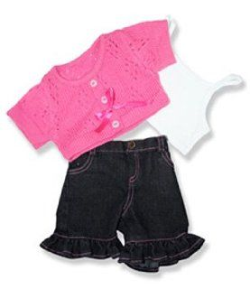 "Pink Sweater and Frill Pants Outfit Teddy Bear Clothes Fits Most 14""   18"" Build a bear, Vermont Teddy Bears, and Make Your Own Stuffed Animals Toys & Games"