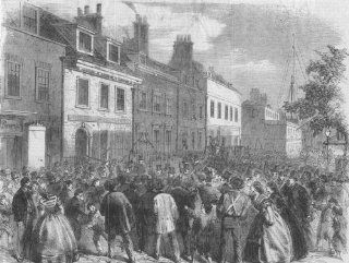 LONDON Riot, Mission House, St George's, East, antique print, 1859