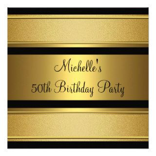 Elegant Black & Gold Metal 50th Birthday Party Custom Invitations