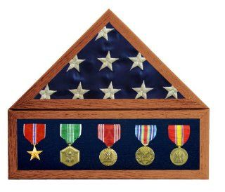 "Solid Oak, 3X5 Flag Display Case w/ 6 in. Shadow Box w/ Blue Velvet, Red Stain   for a folded flag that measures around 14"" along the bottom edge   Display Stands"