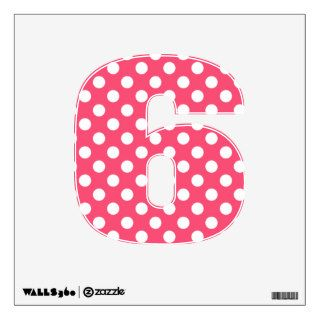 Pink & White Polka Dot Number 6 Wall Decal