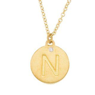 Personalized alphabet engraved 14k Yellow gold diamond initial letter N mini disc pendant necklace Jewelry