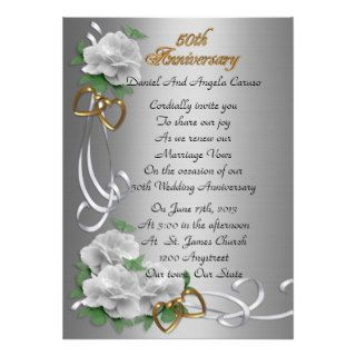50th Wedding anniversary vow renewal white roses Custom Invites