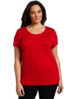 AK Anne Klein Women's Plus Size Peplum Sleeveless Scoop Neck Cable Front Shirt, Red Poppy, 0X