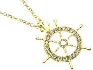 Crystal Stone Ships Wheel Necklace in Gold Tone  Other Products