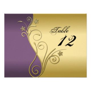 Table Number Wedding Card   Classy Purple & Gold Custom Invitation