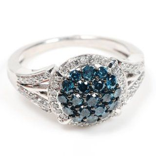 Sterling Silver Blue & White Diamond Bridal Fine Ring Jewelry for Women's Jewelry