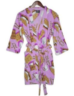 Fancy Girlz   Junior Girls Plush Fleece Gimme Smore Robe, Pink 28196 Medium Bathrobes