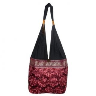 Thai Exotic ElephantLace Flower Linen Zigzag Shoulder Slouch Bag Black & Red Clothing