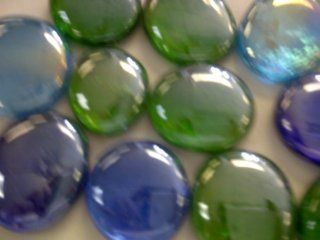 "TBC ""ASSORTED BLUES & GREENS"" XL Decorative Gems Vase Filler, Table Scatters. Beautiful Unique Glass Stones NEW Size ""X LARGE"" 1"" Diam. Mixed Blues & Greens 100% Flat Glass Gem Stones. Vase Filler, Table Scatters. Use in F"