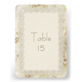 Antique Ivory Lace Floral Wedding Table Numbers Custom Invitations