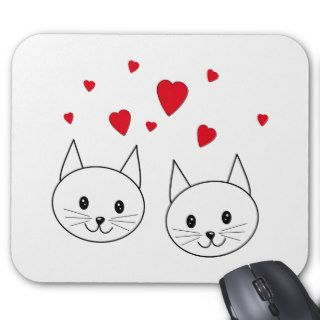 Two Cute White Cats with Red Hearts. Mouse Pads