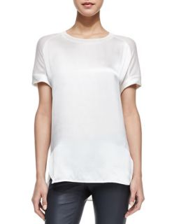 Womens Silk/Jersey Short Sleeve Tee   Vince   Magnolia (SMALL)