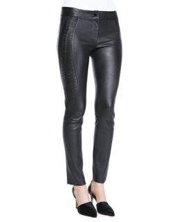 Womens Side Embroidery Leather Pants   Arzu Kaprol   Black (38/6)