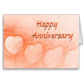 Orange Abstract Heart Happy Anniversary Greeting Card