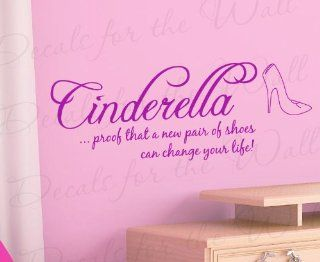 Cinderella Proof That a New Pair of Shoes Disney   Girl's Room Kids Baby Nursery Funny   Disney Cinderella Glass Slipper   Quote Lettering Decor, Saying Sticker Graphic Art, Vinyl Wall Decal Decoration   Home Decor Product