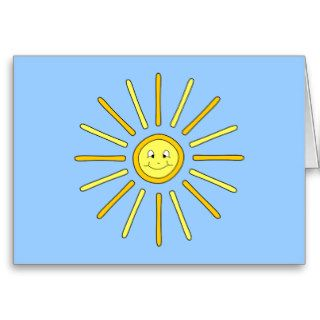 Happy Summer Sun. Yellow and Blue. Greeting Cards