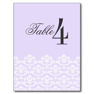Elegant Purple Damask Wedding Table Number card Post Cards