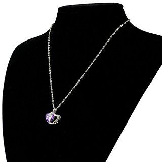 Bessky New Fashion 1pc Women Girl Luxury Alloy Two Heart Pendant Necklace Chain (Purple)