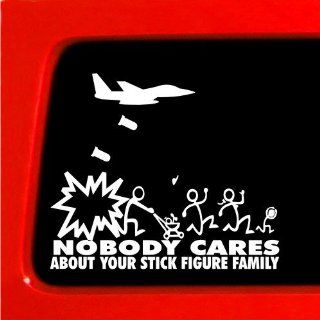Jet Fighter Stick Figure Family Nobody Cares bomb funny stickers car decal bumper vinyl Sticker * Automotive