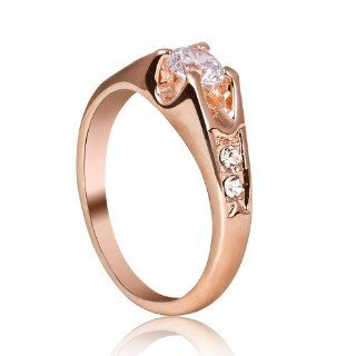 Mother's Day Gifts Rose Gold Finish Cubic Zirconia Engagement Ring with Cubic Zirconia Shoulders R203 Jewelry