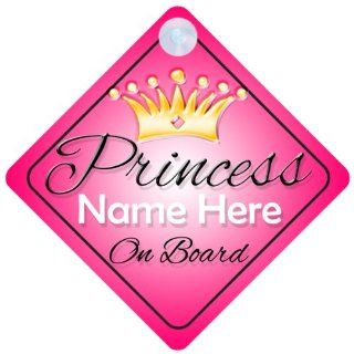 Princess On Board Pink with Crown (001) Personalised Car Sign New Baby Girl / Child Gift / Present  Child Safety Car Seat Accessories  Baby
