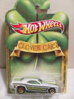 Hot Wheels 2011 Clover Cars Series St. Patrick's Day Dodge Challenger Funny Car, Pearl White, w/Dk. Green, Green, & Lt. Green stripes on sides & across top Toys & Games