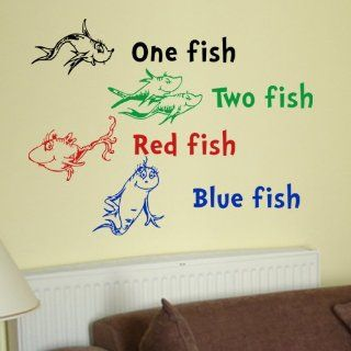 Dr Seuss One Fish Two Fish Red Fish Blue Fish Wall Quote Vinyl Wall Art Decal Sticker   Other Products