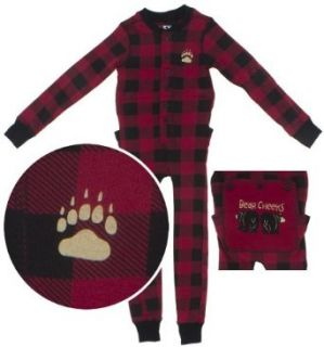 Lazy One Red Check Cotton Union Suit for Toddlers and Kids Clothing