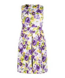 Samya Purple and Green Floral Midi Dress