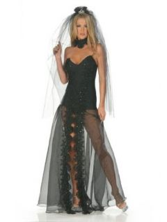 Sexy Gothic Bride Costume Black Dress   SMALL Adult Sized Costumes Clothing