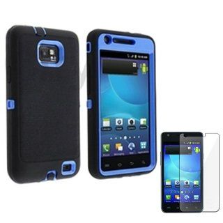Cell Phone Snap on Cover Fits Samsung I9100 I777 Galaxy S 2, Attain, Within, Function Armor Blue + Black + LCD Screen Protective Film (Outside Black Soft Silicone Skin, Inside Blue Front and Back Hard Case) AT&T, Sprint, Verizon Cell Phones & Acce