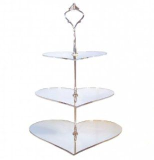 Three Tier Heart Silver Acrylic Mirror Cake Stand 23cm 19cm 15cm (overall 32cm) (6inch 7.5inch & 9inch height 12.5inch) (approx 24 cup cakes)