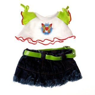 "Butterfly T Shirt & Skirt Outfit Clothing Fits 8"" 10"" Most Webkinz, Shining Star and 8"" 10"" Make Your Own Stuffed Animals and Build a bear Toys & Games"