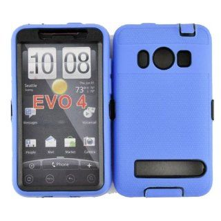 Hard Plastic Snap on Cover Fits HTC EVO 4G PC36100 Armor Blue Black Hybrid Case (Outside Blue Soft Silicone Skin, Inside Black Front and Back Hard Case) Plus A Free LCD Screen Protector Sprint (does not fit HTC EVO 4G LTE) Cell Phones & Accessories