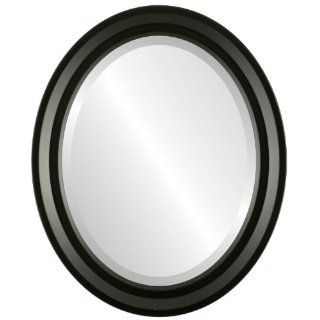 Modern wood Oval Beveled Wall Mirror in a Black Newport style Matte Black Frame 15x19 outside dimensions   Wall Mounted Mirrors