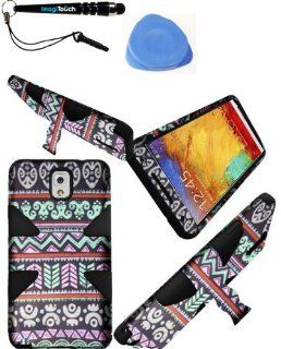 IMAGITOUCH(TM) 3 in 1 Bundle For Samsung Galaxy Note 3 Dual Layer Silicone inside and Hard Case outside Dynamic Cover Hybrid Phone Protector With Stand   Elegant Aztec+Black + Touch Screen Stylus Pen AND Pry Tool Case Opener Cell Phones & Accessories