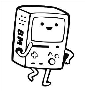 "Adventure Time Beemo Vinyl Die Cut Decal Sticker 6"" Black"