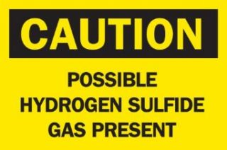 "Brady 84317 Self Sticking Polyester, 7"" X 10"" Caution Sign Legend ""Possible Hydrogen Sulfide Gas Present"" Industrial Warning Signs"