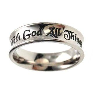 "Christian Women's Stainless Steel Absitnence ""With God All Things Are Possible"" Matthew 1926 Comfort Fit 6mm Chastity Ring for Girls   Girls Purity Ring Sports & Outdoors"