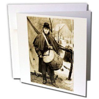 gc_6747_1 Scenes from the Past Antique Images   Civil War Drummer Boy Sepia tone   Greeting Cards 6 Greeting Cards with envelopes  Blank Greeting Cards