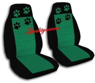 2 Black and Emerald Green seat covers with Paw Prints for a 2005 to 2007 Honda Accord. Please notify us if you have Side Airbags Automotive