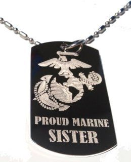 "United States Marines Marine Core Anchor and Globe Armed Forces ""Proud Marine Sister "" Engraved Star Logo Symbols   Military Dog Tag Luggage Tag Metal Chain Necklace Jewelry"