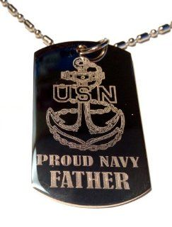 "United States Navy USN Anchor Armed Forces ""Proud Navy Father"" Engraved Star Logo Symbols   Military Dog Tag Luggage Tag Metal Chain Necklace Jewelry"