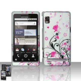 Silver Pink Flower Heart Vine Design Rubberized Snap on Hard Cover Protector Faceplate Cell Phone Case for Verizon Motorola Droid 2 Droid2 A955 + LCD Screen Guard Film + Free iTuffy Flannel Bag Cell Phones & Accessories