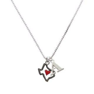 Open Rope Texas with Red Heart Initial A Charm Necklace Pendant Necklaces Jewelry