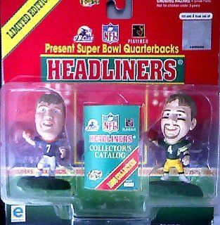 John Elway and Brett Favre Action Figures   1999 Headliners Present Super Bowl Quarterbacks NFL Limited Edition Series Toys & Games